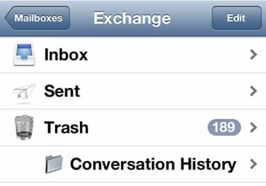 Pick the trash or bin folder on iOS mail