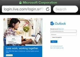 login to outlook.com, live.com or hotmail via safari