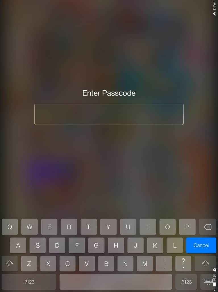 iOS 7 status bar on right