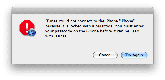 passcode never synced with itunes