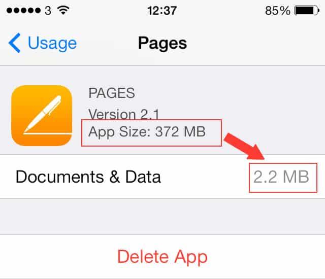 compare storage usage