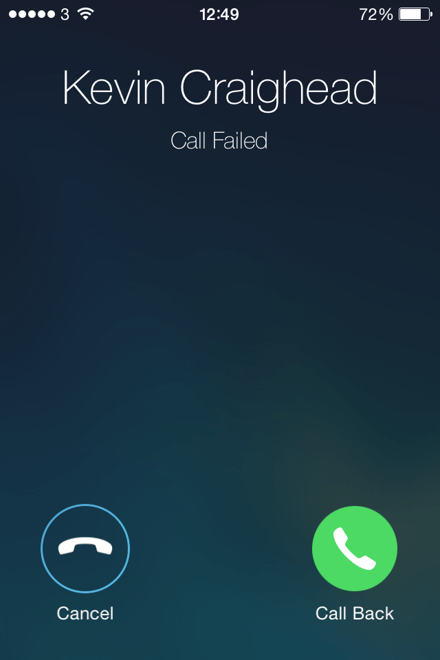 iphone call failed