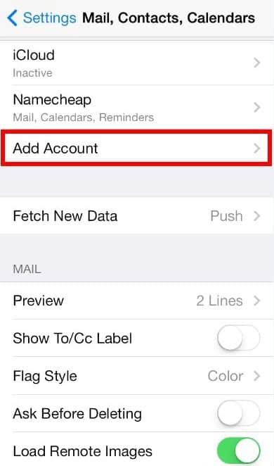 iOS7 pop email account setup