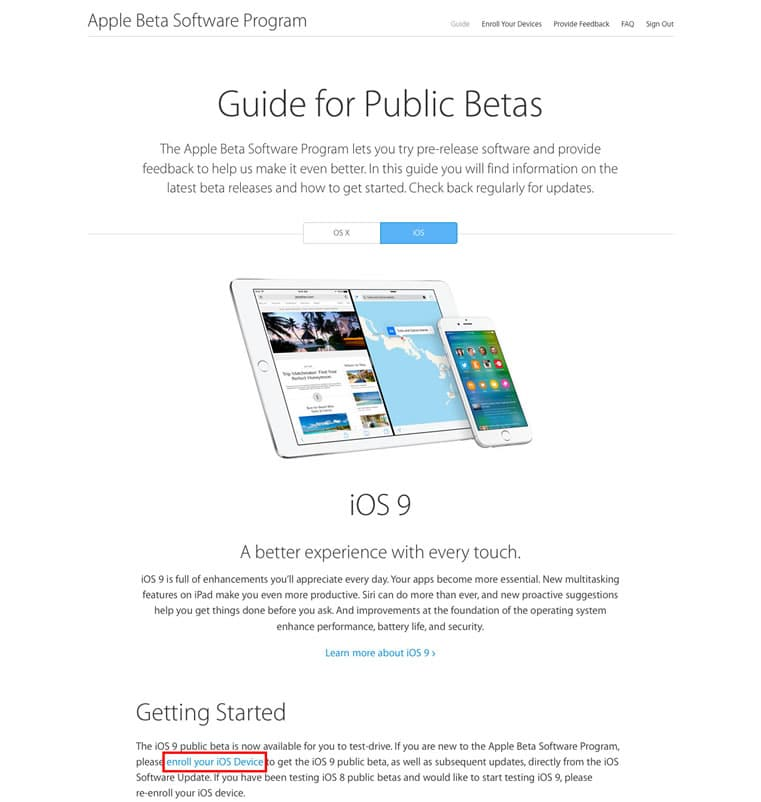 ios 9 download - enrole your device