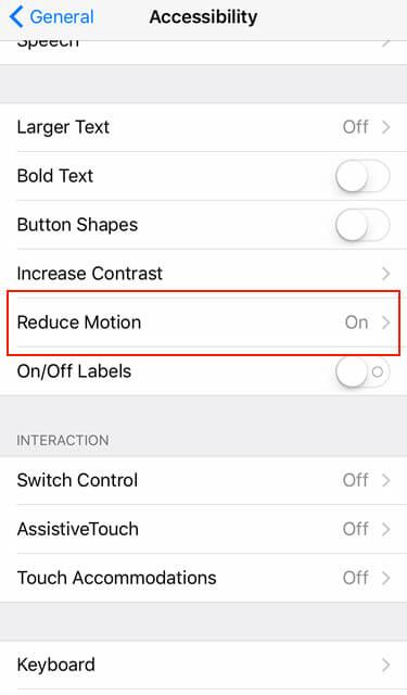 iOS 9 Motion